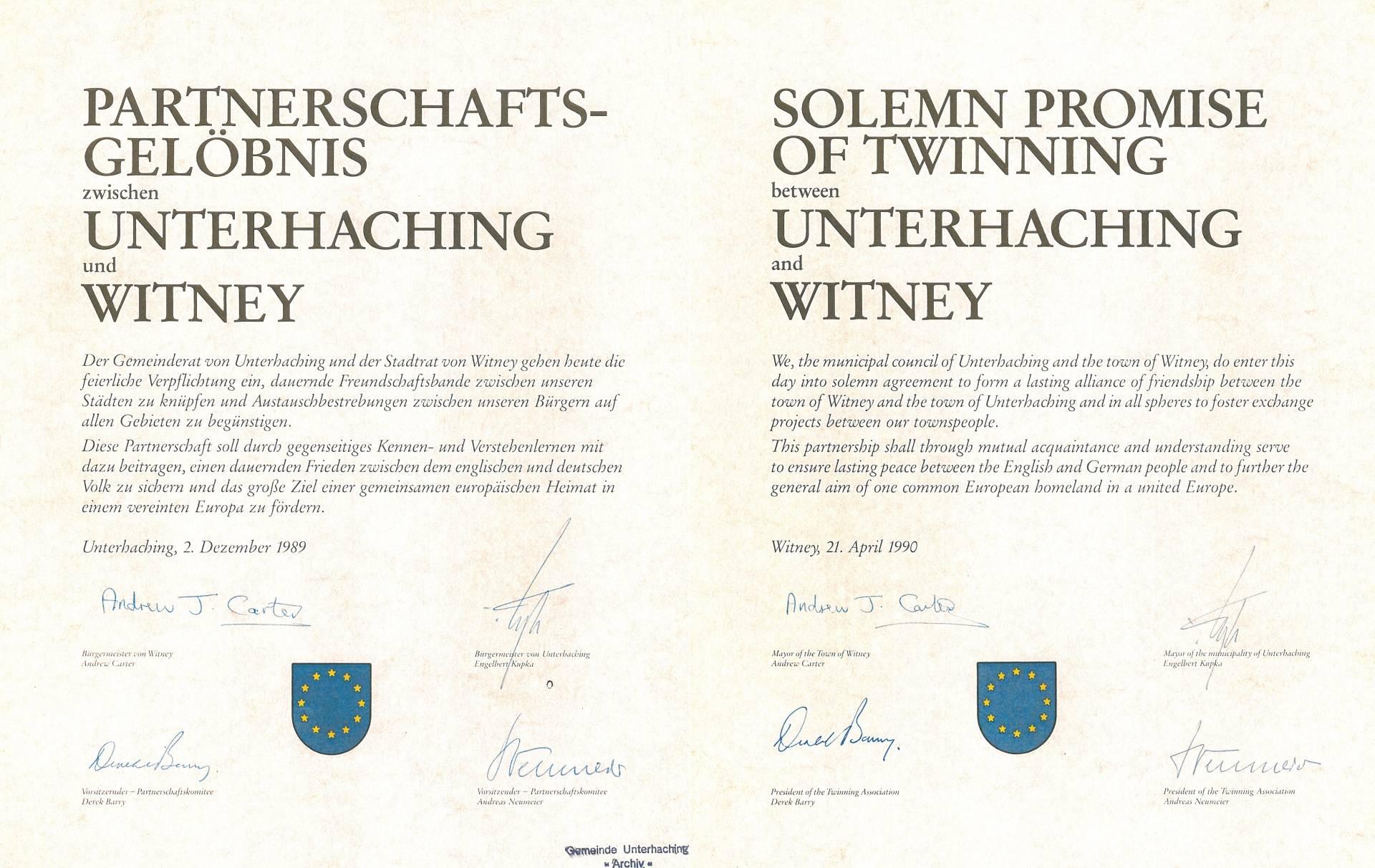 Partnerschaftsurkunde WITNEY / England