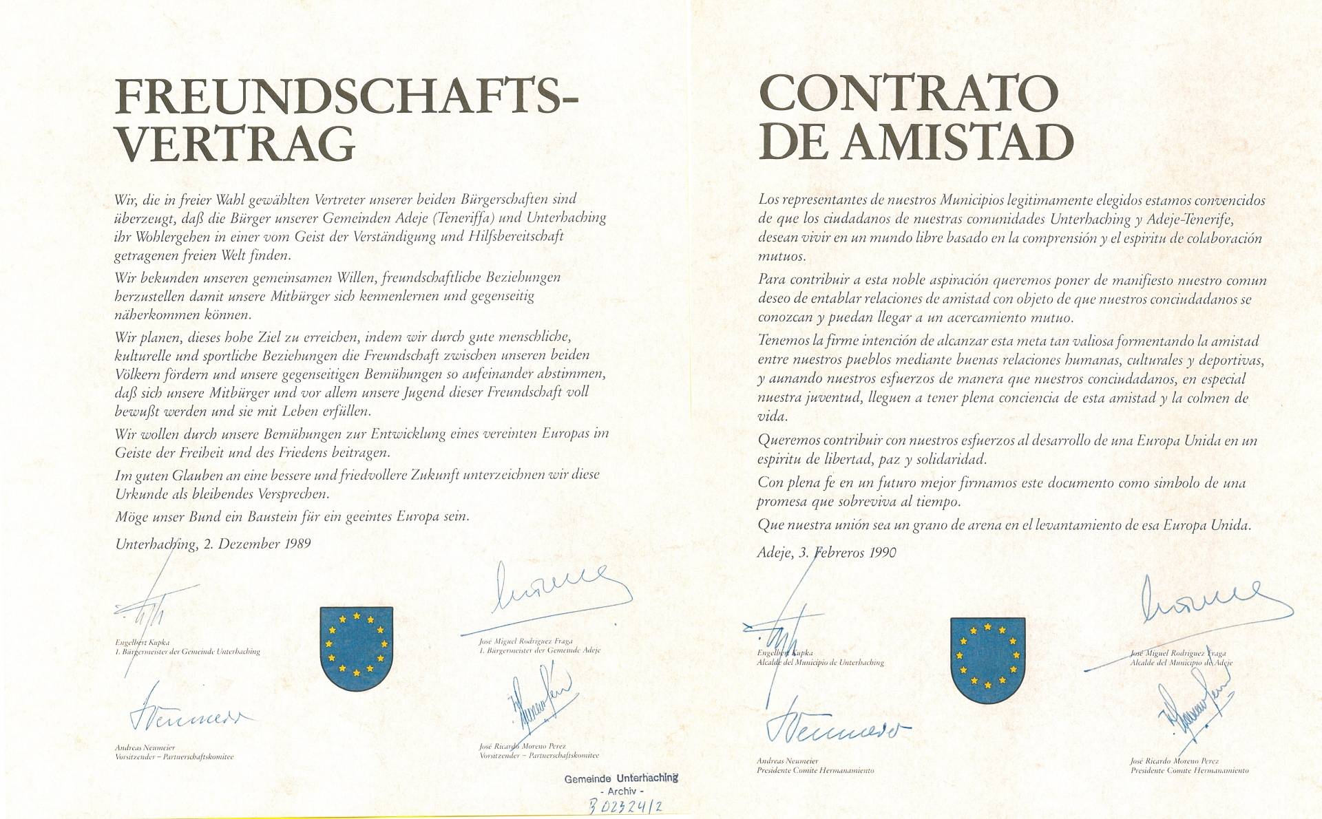 Partnerschaftsurkunde ADEJE / Spanien-Teneriffa